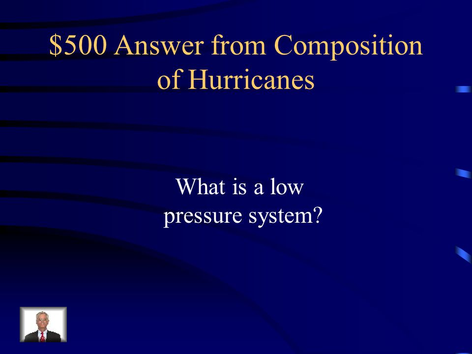 $500 Question from Composition of Hurricanes Area of minimum relative pressure with converging winds and rotating in the same direction as the Earth