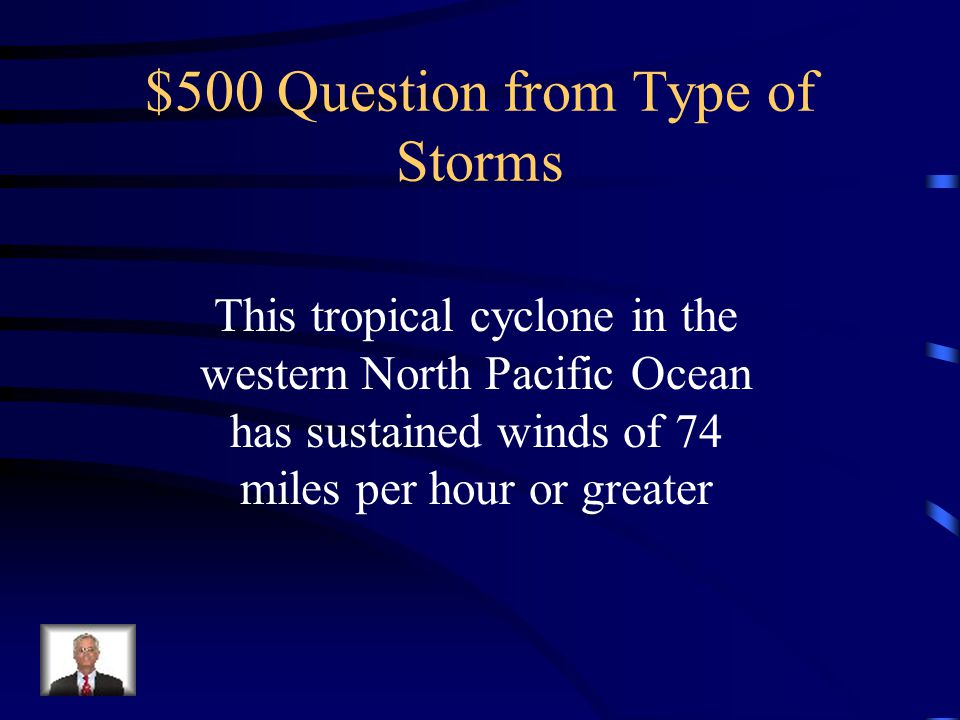 $400 Answer from Type of Storms What is a hurricane