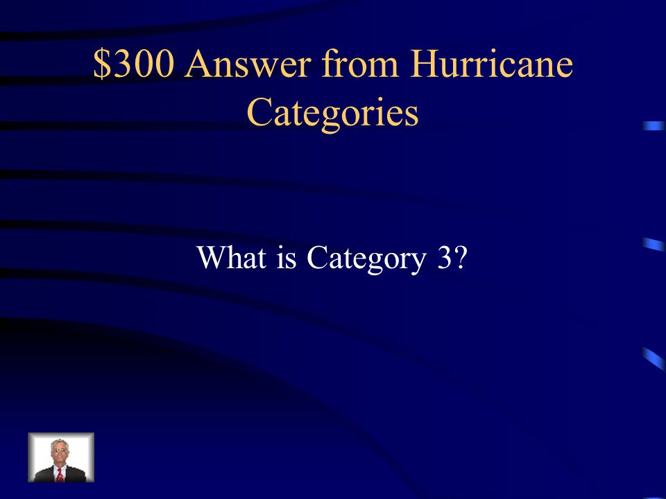 $300 Question from Hurricane Categories Hurricane Katrina was downgraded to this category shortly before making landfall in August 2005.