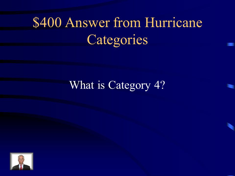 $400 Question from Hurricane Categories Hurricane Charley (2004) was included in this category of intense hurricanes that leave behind a large amount of structural devastation