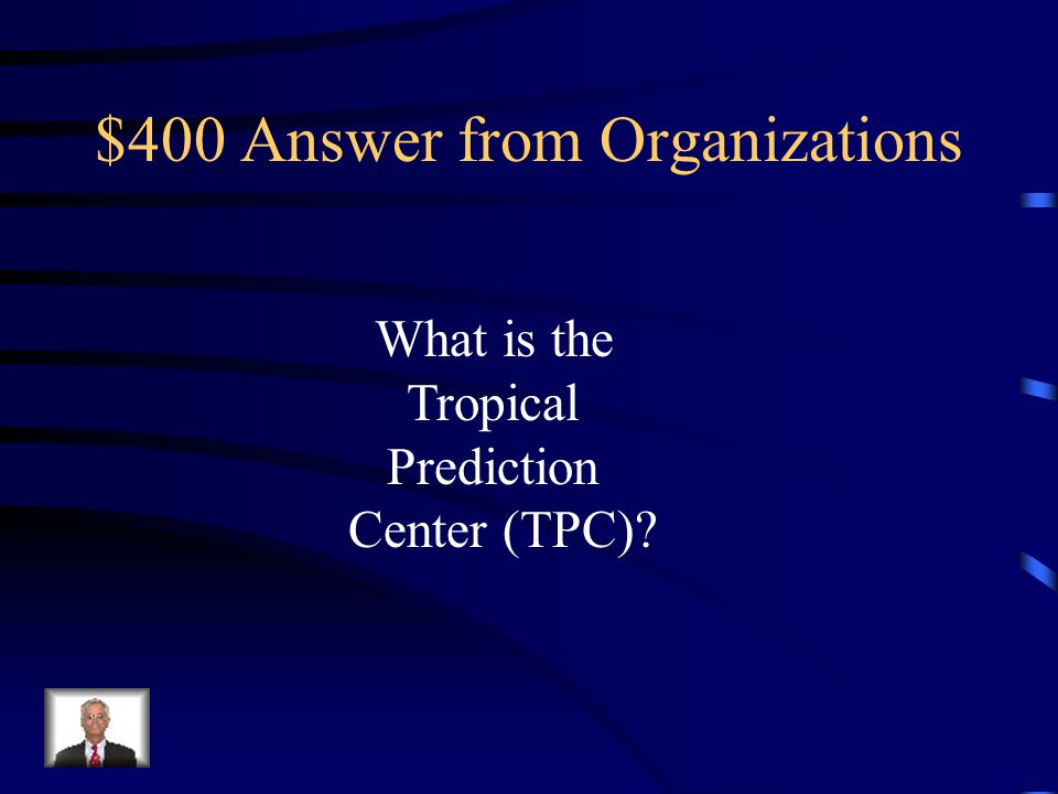 $400 Question from Organizations Issues watches, warnings, forecasts, and analyses of hazardous weather conditions in the tropics for both domestic and international communities.