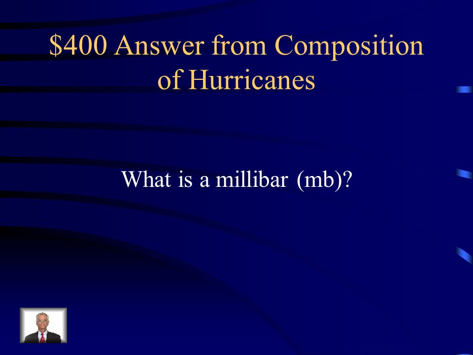 $400 Question from Composition of Hurricanes If you were a meteorologist, you would use this unit to measure the air pressure of a tropical storm or hurricane