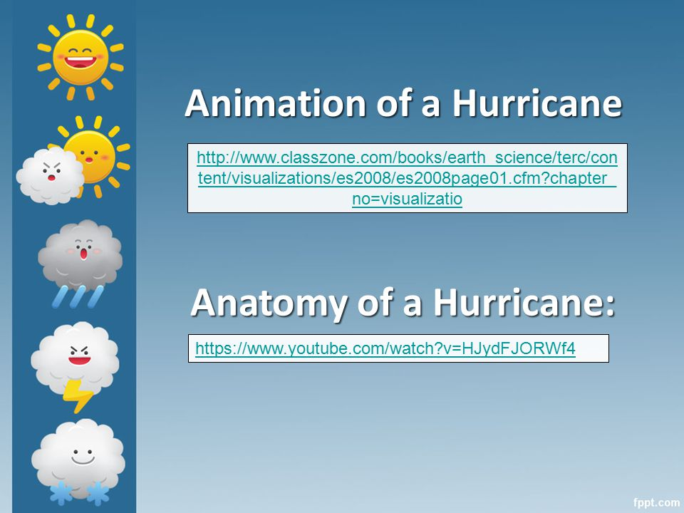 Animation of a Hurricane   tent/visualizations/es2008/es2008page01.cfm chapter_ no=visualizatio   v=HJydFJORWf4 Anatomy of a Hurricane: