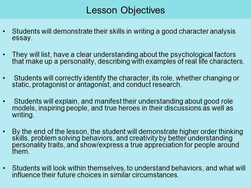 Reflective Essay English Class Lesson Objectives Students Will Demonstrate Their Skills In Writing A Good  Character Analysis Essay Reflective Essay English Class also Essay Writing Scholarships For High School Students Character Analysis Finding The Mystery Character Th  Th Grade  Exemplification Essay Thesis