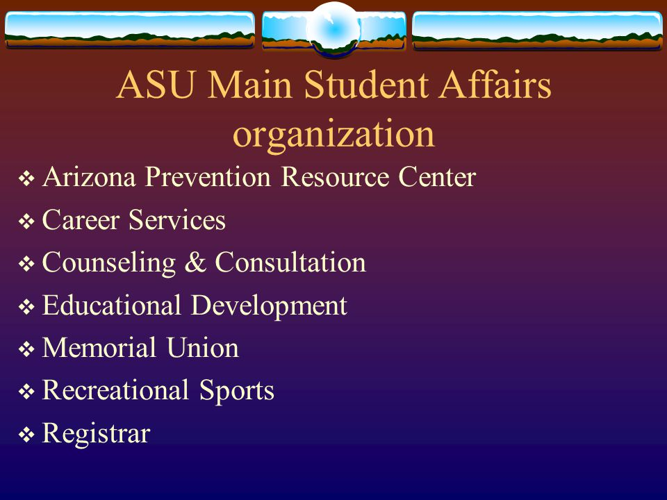 ASU Main Organization  Administrative Organization  Academic Affairs  Administrative Services  Institutional Advancement  Research  Student Affairs