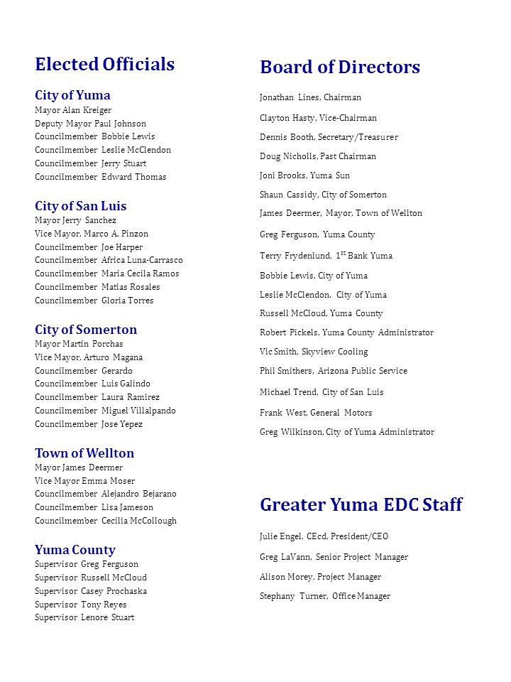 Greater Yuma Economic Development Corporation 899 Plaza Circle, Suite 2, Yuma, Arizona Telephone Fax: Website: - ppt download - 웹