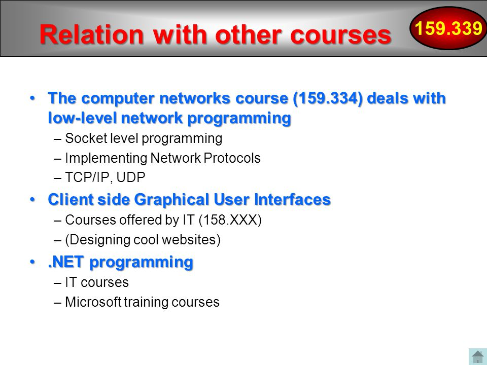 Relation with other courses The computer networks course ( ) deals with low-level network programmingThe computer networks course ( ) deals with low-level network programming – Socket level programming – Implementing Network Protocols – TCP/IP, UDP Client side Graphical User InterfacesClient side Graphical User Interfaces – Courses offered by IT (158.XXX) – (Designing cool websites).NET programming.NET programming – IT courses – Microsoft training courses