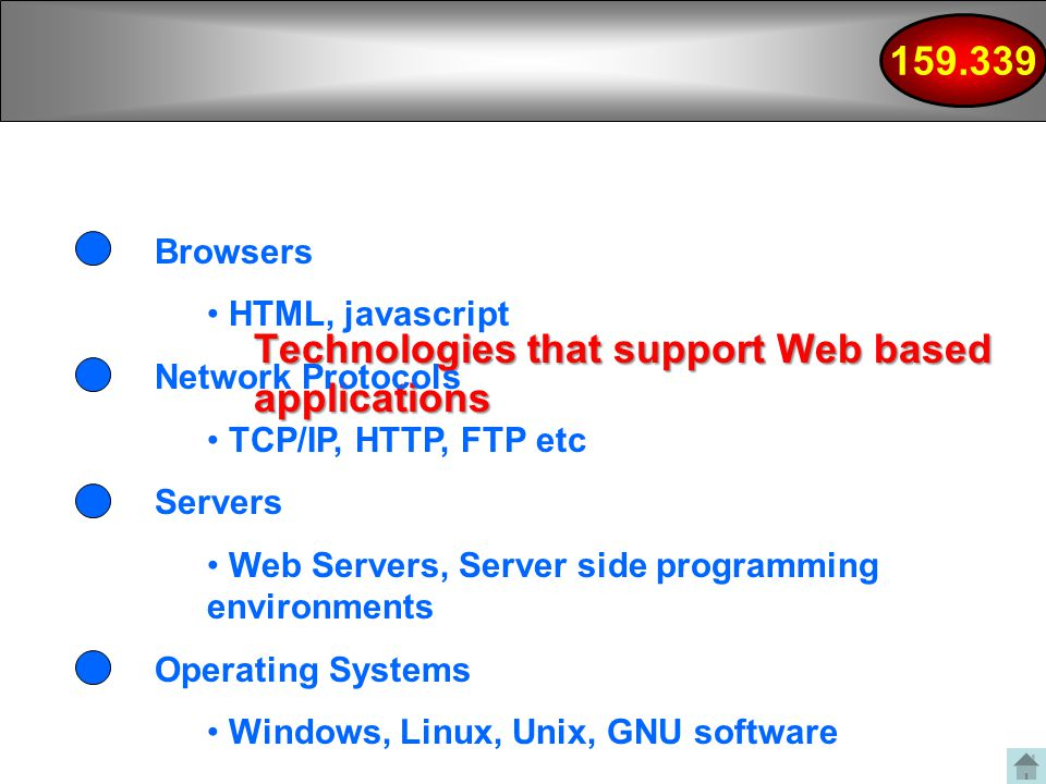 Technologies that support Web based applications Browsers HTML, javascript Network Protocols TCP/IP, HTTP, FTP etc Servers Web Servers, Server side programming environments Operating Systems Windows, Linux, Unix, GNU software