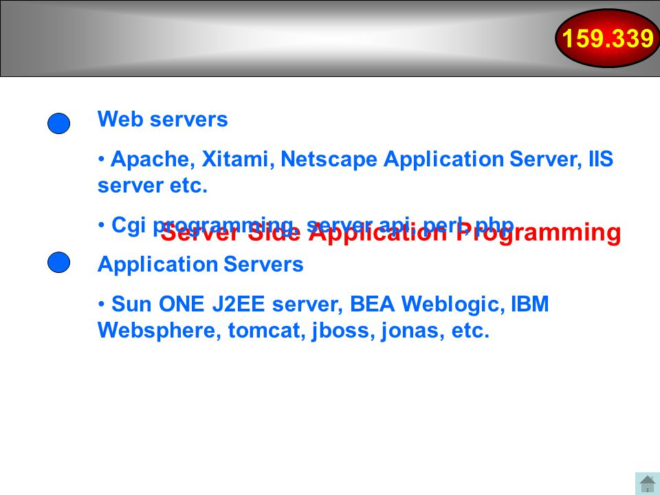 Server Side Application Programming Web servers Apache, Xitami, Netscape Application Server, IIS server etc.