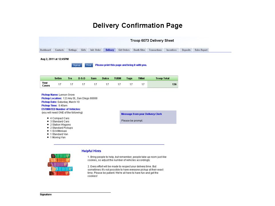 Delivery Confirmation Page