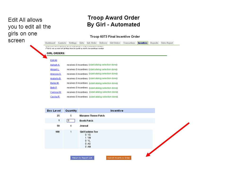 Troop Award Order By Girl - Automated Edit All allows you to edit all the girls on one screen