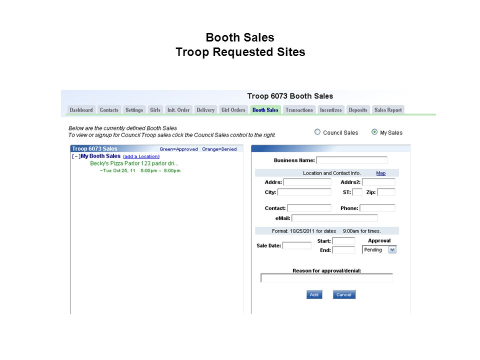 Booth Sales Troop Requested Sites