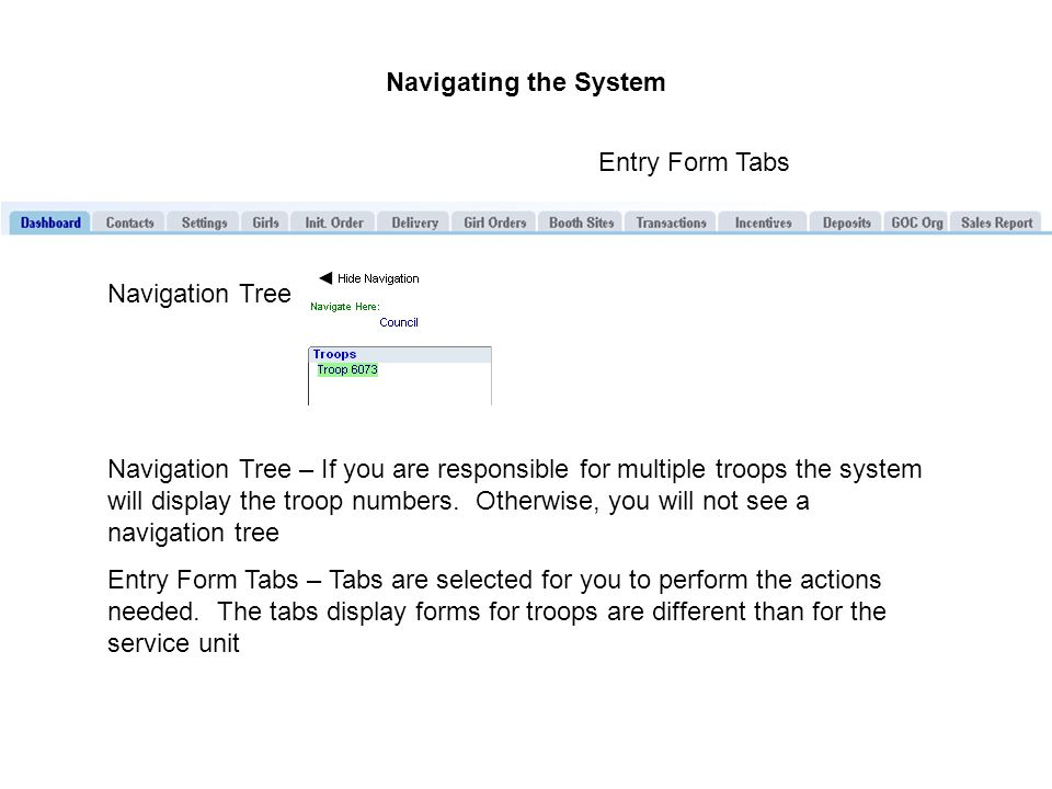 Navigating the System Navigation Tree Entry Form Tabs Navigation Tree – If you are responsible for multiple troops the system will display the troop numbers.