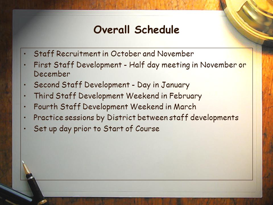 Overall Schedule Staff Recruitment in October and November First Staff Development - Half day meeting in November or December Second Staff Development - Day in January Third Staff Development Weekend in February Fourth Staff Development Weekend in March Practice sessions by District between staff developments Set up day prior to Start of Course