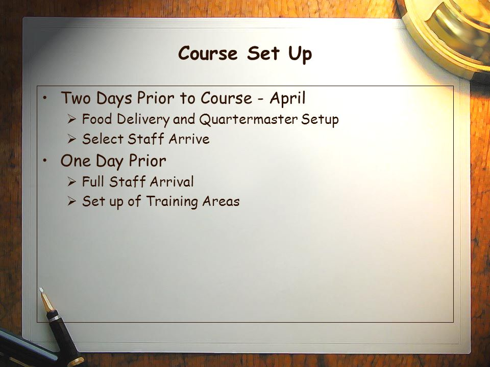 Course Set Up Two Days Prior to Course - April  Food Delivery and Quartermaster Setup  Select Staff Arrive One Day Prior  Full Staff Arrival  Set up of Training Areas