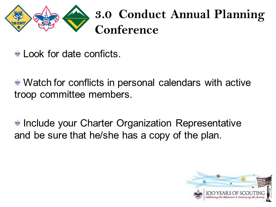 3.0 Conduct Annual Planning Conference Look for date conficts.