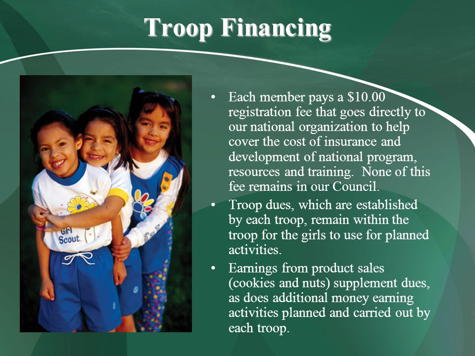How Is Girl Scouting Financed. Financing for the Girl Scout program comes from many sources.