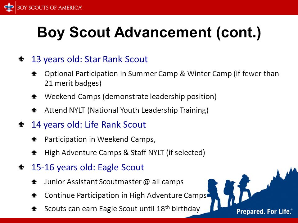 Boy Scout Advancement (cont.) 13 years old: Star Rank Scout Optional Participation in Summer Camp & Winter Camp (if fewer than 21 merit badges) Weekend Camps (demonstrate leadership position) Attend NYLT (National Youth Leadership Training) 14 years old: Life Rank Scout Participation in Weekend Camps, High Adventure Camps & Staff NYLT (if selected) years old: Eagle Scout Junior Assistant all camps Continue Participation in High Adventure Camps Scouts can earn Eagle Scout until 18 th birthday