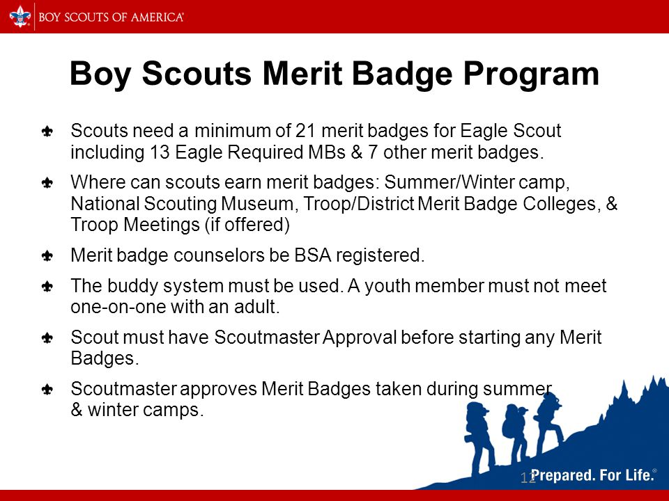 12 Boy Scouts Merit Badge Program Scouts need a minimum of 21 merit badges for Eagle Scout including 13 Eagle Required MBs & 7 other merit badges.