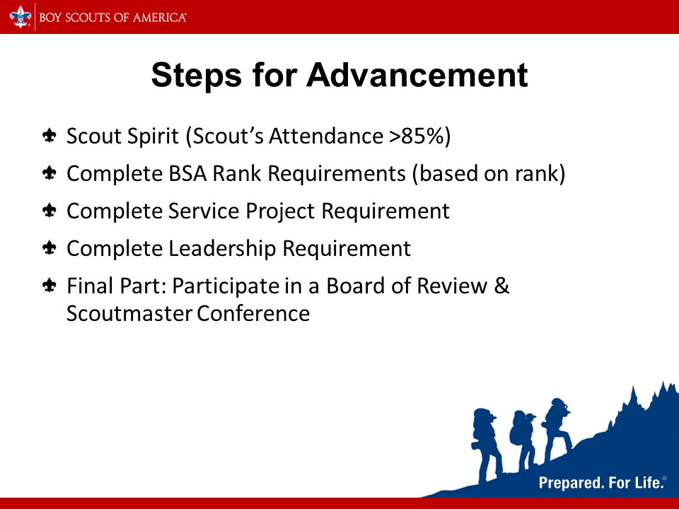 Steps for Advancement Scout Spirit (Scout's Attendance >85%) Complete BSA Rank Requirements (based on rank) Complete Service Project Requirement Complete Leadership Requirement Final Part: Participate in a Board of Review & Scoutmaster Conference