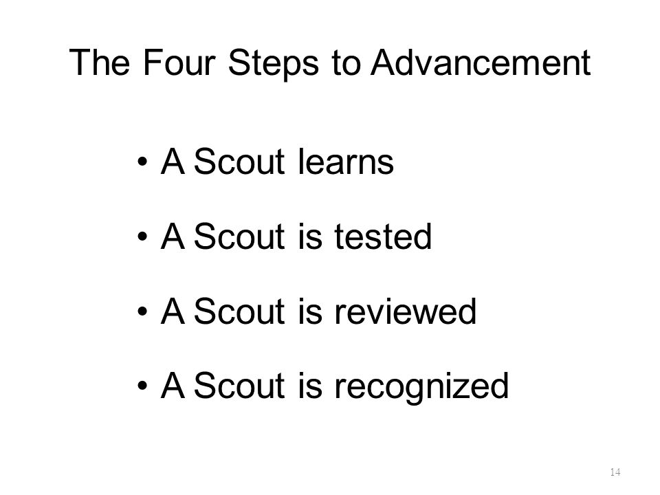 The Four Steps to Advancement A Scout learns A Scout is tested A Scout is reviewed A Scout is recognized 14