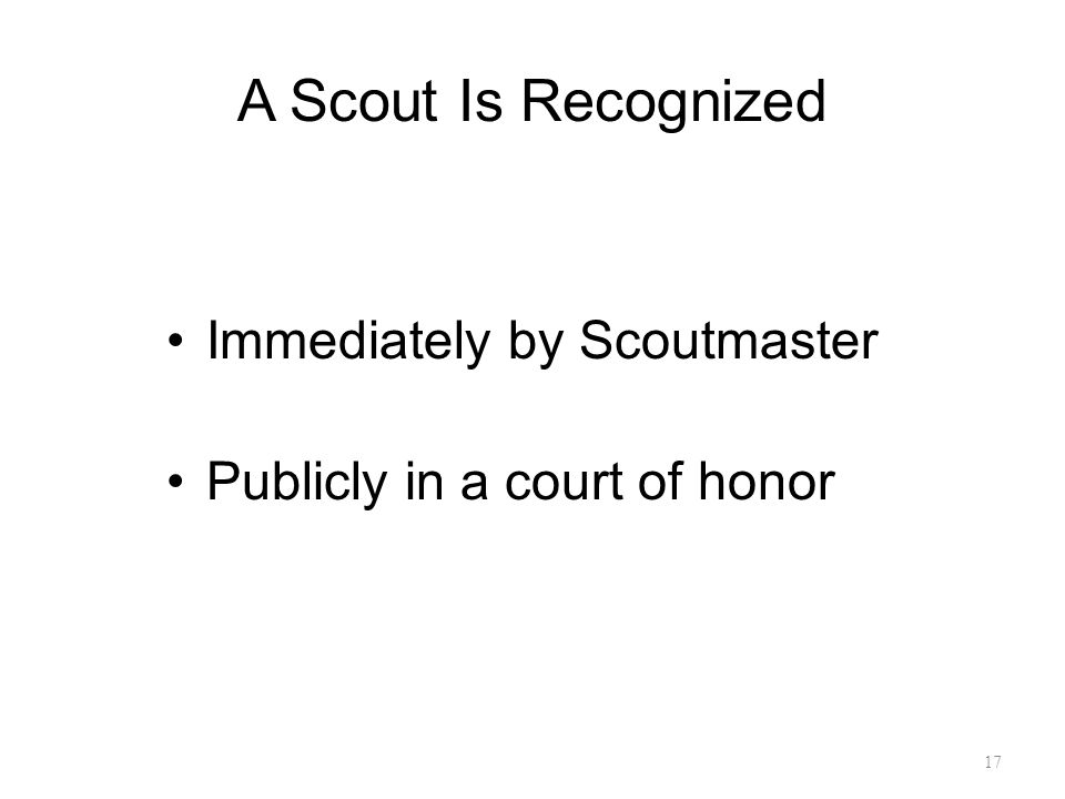 A Scout Is Recognized Immediately by Scoutmaster Publicly in a court of honor 17