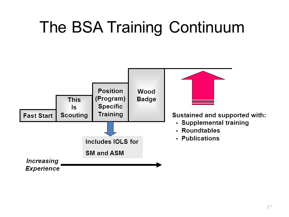 The BSA Training Continuum 37 Fast Start This Is Scouting Position (Program) Specific Training Wood Badge Sustained and supported with: - Supplemental training - Roundtables - Publications Increasing Experience Includes IOLS for SM and ASM