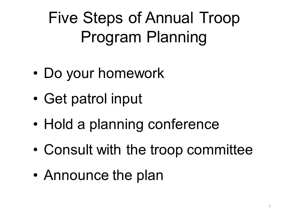 Five Steps of Annual Troop Program Planning Do your homework Get patrol input Hold a planning conference Consult with the troop committee Announce the plan 4