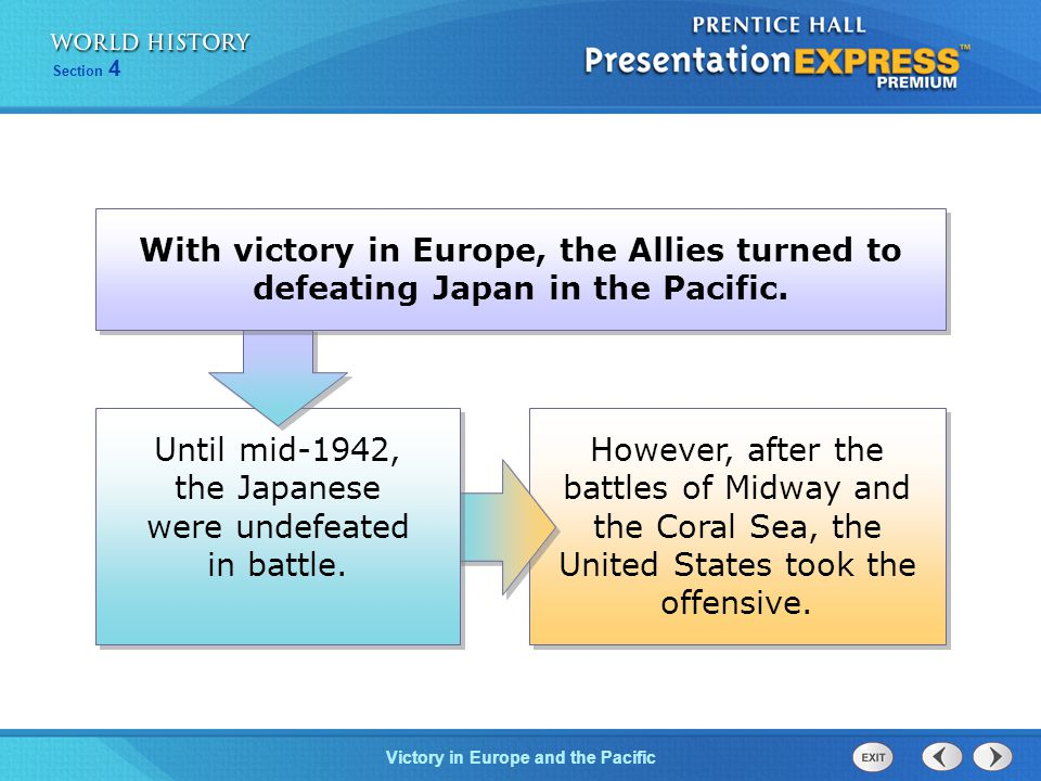 Victory in Europe and the Pacific Section 4 However, after the battles of Midway and the Coral Sea, the United States took the offensive.