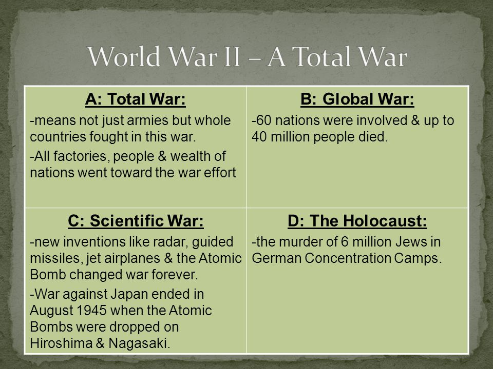 A: Total War: -means not just armies but whole countries fought in this war.