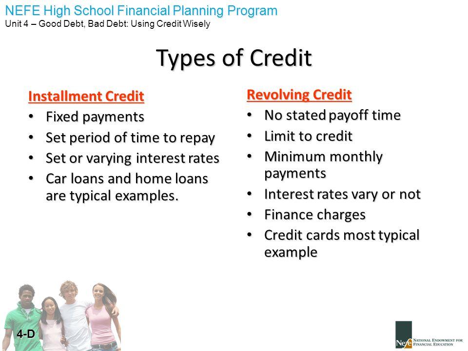 Nefe High School Financial Planning Program Unit 4 Good Debt Bad