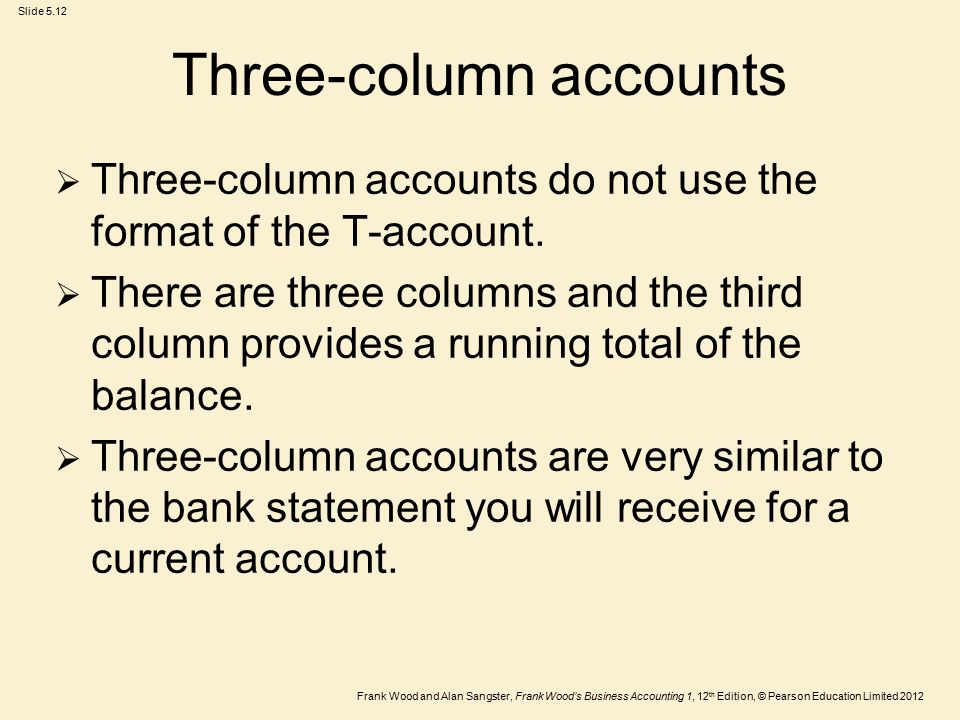 Frank Wood and Alan Sangster, Frank Wood's Business Accounting 1, 12 th Edition, © Pearson Education Limited 2012 Slide 5.12 Three-column accounts  Three-column accounts do not use the format of the T-account.