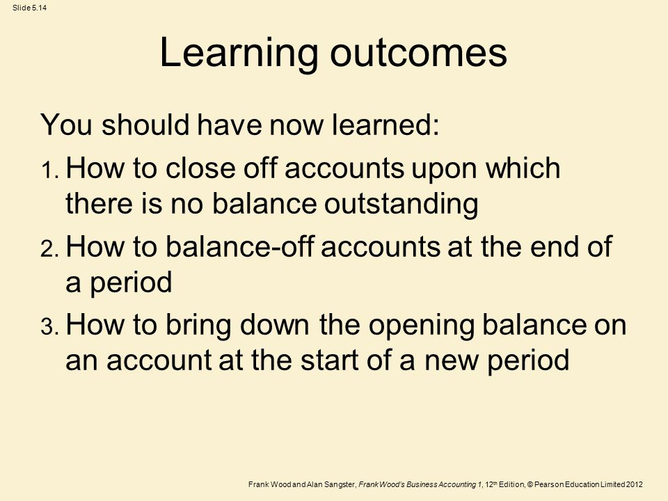 Frank Wood and Alan Sangster, Frank Wood's Business Accounting 1, 12 th Edition, © Pearson Education Limited 2012 Slide 5.14 Learning outcomes You should have now learned: 1.