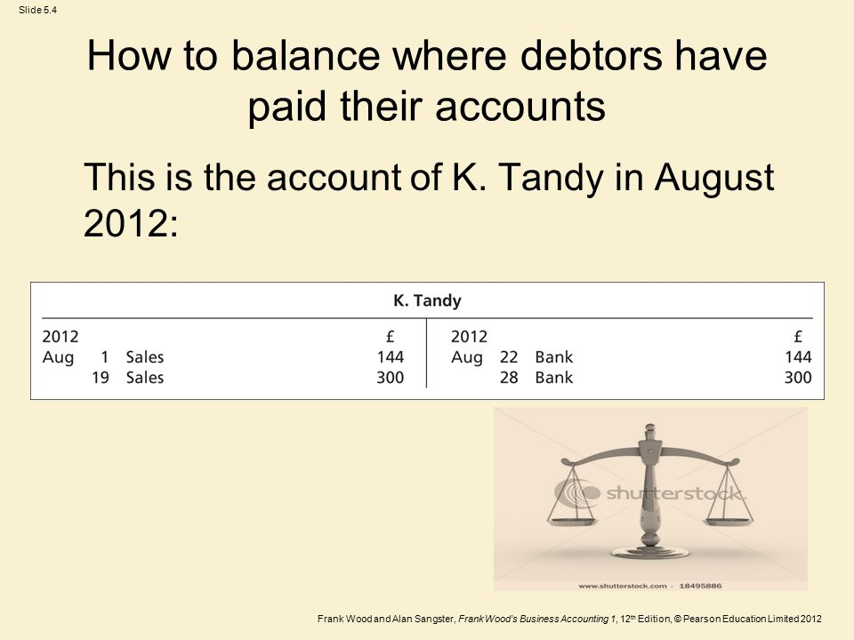 Frank Wood and Alan Sangster, Frank Wood's Business Accounting 1, 12 th Edition, © Pearson Education Limited 2012 Slide 5.4 How to balance where debtors have paid their accounts This is the account of K.
