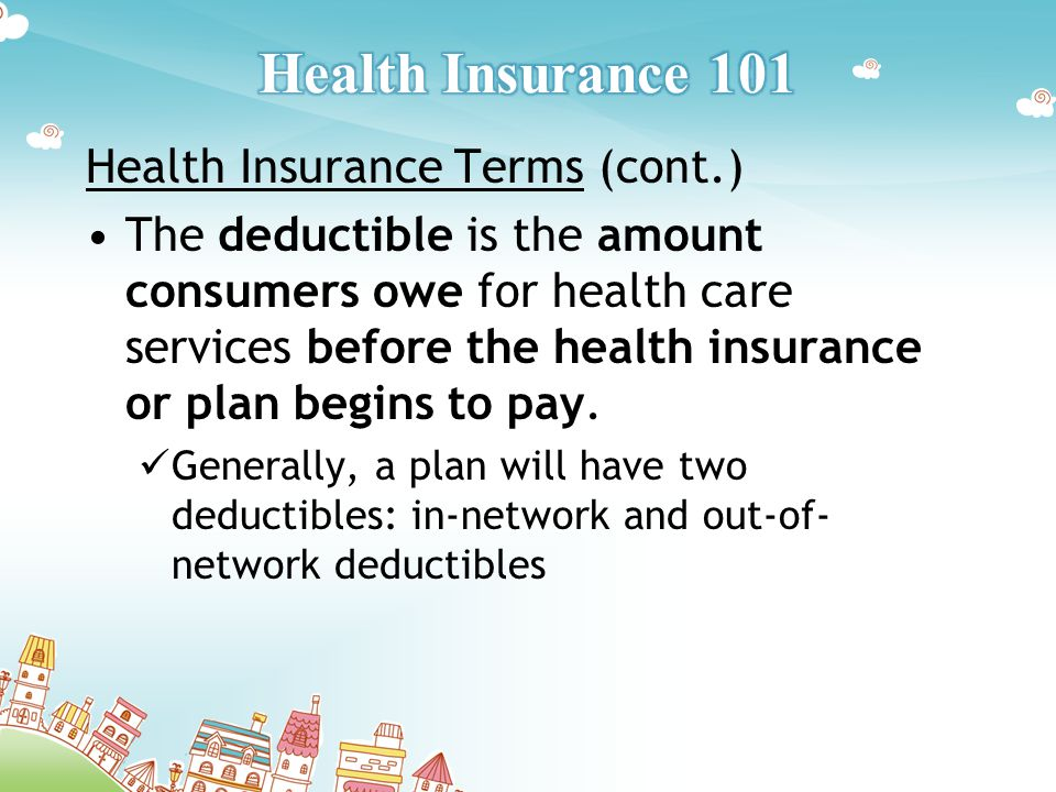 Health Insurance Terms (cont.) The deductible is the amount consumers owe for health care services before the health insurance or plan begins to pay.