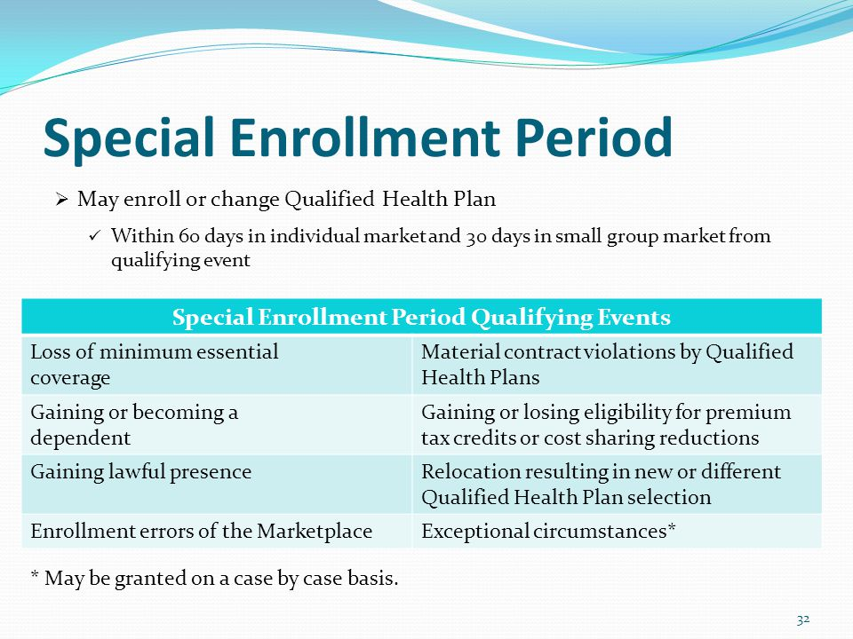 Special Enrollment Period  May enroll or change Qualified Health Plan Within 60 days in individual market and 30 days in small group market from qualifying event Special Enrollment Period Qualifying Events Loss of minimum essential coverage Material contract violations by Qualified Health Plans Gaining or becoming a dependent Gaining or losing eligibility for premium tax credits or cost sharing reductions Gaining lawful presenceRelocation resulting in new or different Qualified Health Plan selection Enrollment errors of the MarketplaceExceptional circumstances* 32 * May be granted on a case by case basis.