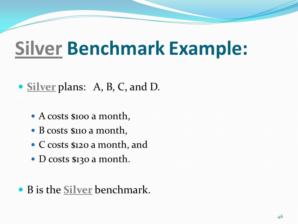 Silver Benchmark Example: Silver plans: A, B, C, and D.