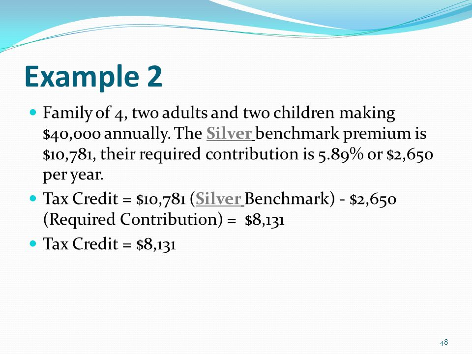 Example 2 Family of 4, two adults and two children making $40,000 annually.