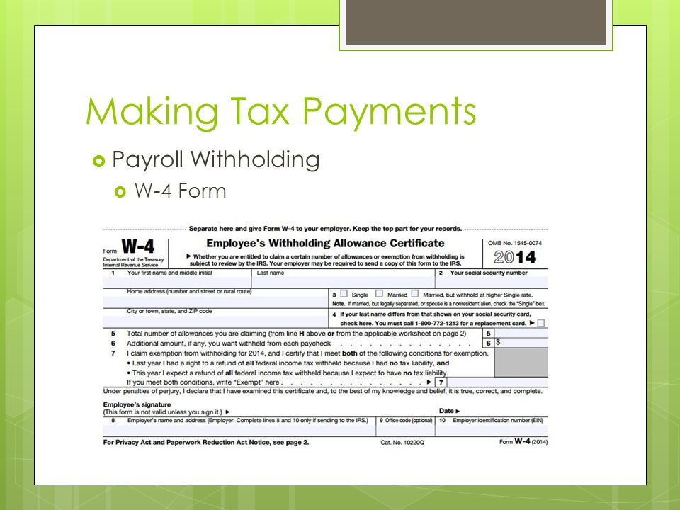 Making Tax Payments  Payroll Withholding  W-4 Form
