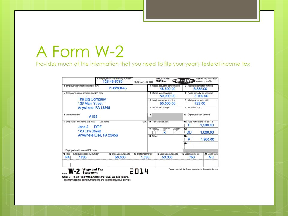A Form W-2 Provides much of the information that you need to file your yearly federal income tax