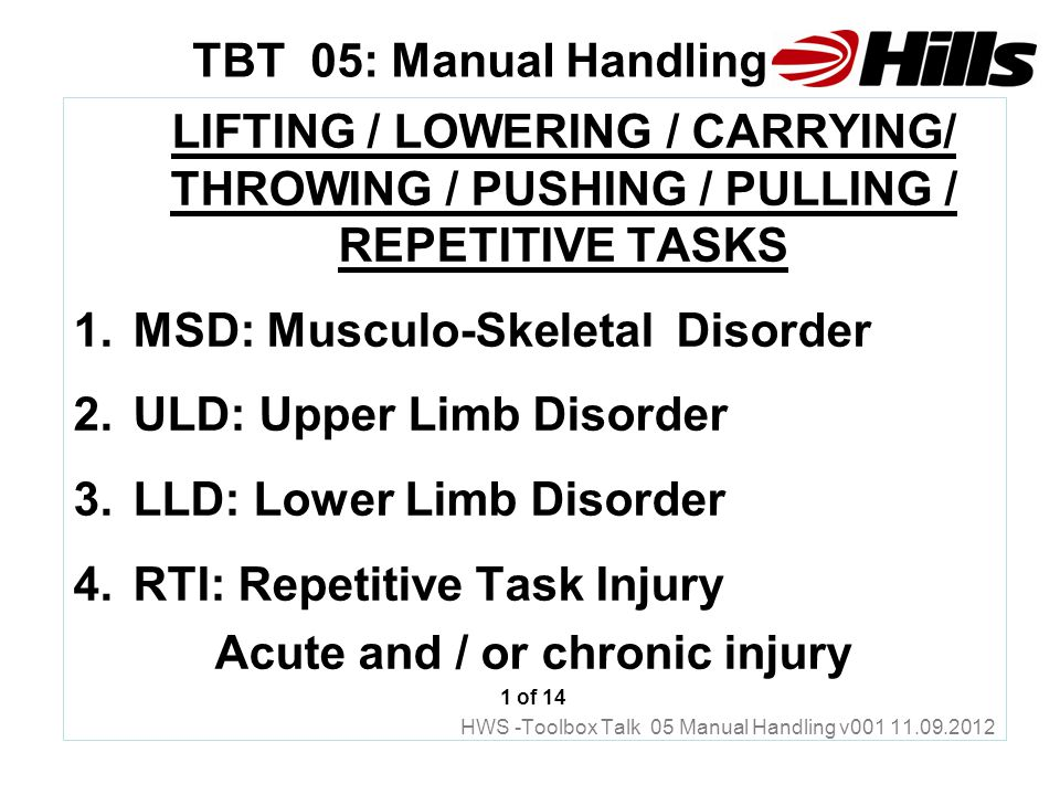 tbt 05 manual handling lifting lowering carrying throwing rh slideplayer com MSDS Training Aids MSDS Cover Sheet