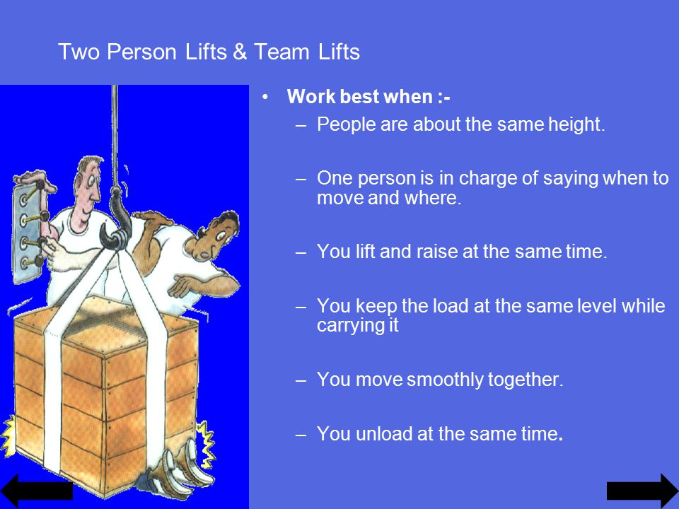 Two Person Lifts & Team Lifts Work best when :- –People are about the same height.