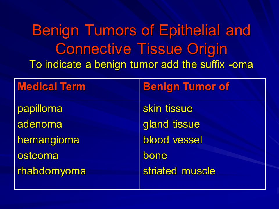 Benign Tumors of Epithelial and Connective Tissue Origin To indicate a benign tumor add the suffix -oma Benign Tumor of Medical Term skin tissue gland tissue blood vessel bone striated muscle papillomaadenomahemangiomaosteomarhabdomyoma