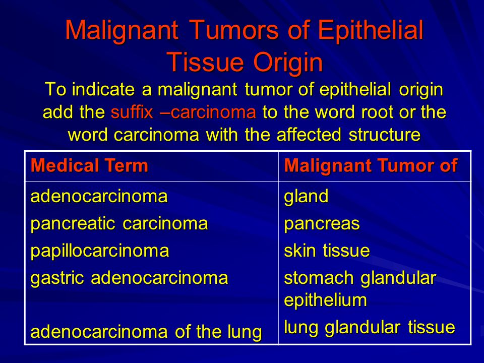 Malignant Tumors of Epithelial Tissue Origin To indicate a malignant tumor of epithelial origin add the suffix –carcinoma to the word root or the word carcinoma with the affected structure Malignant Tumor of Medical Term glandpancreas skin tissue stomach glandular epithelium lung glandular tissue adenocarcinoma pancreatic carcinoma papillocarcinoma gastric adenocarcinoma adenocarcinoma of the lung