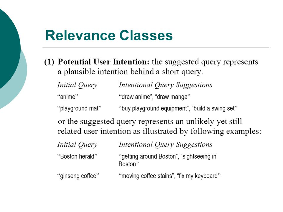 Relevance Classes