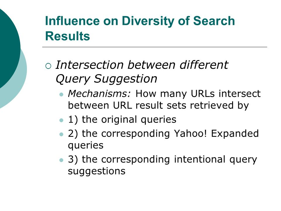 Influence on Diversity of Search Results  Intersection between different Query Suggestion Mechanisms: How many URLs intersect between URL result sets retrieved by 1) the original queries 2) the corresponding Yahoo.