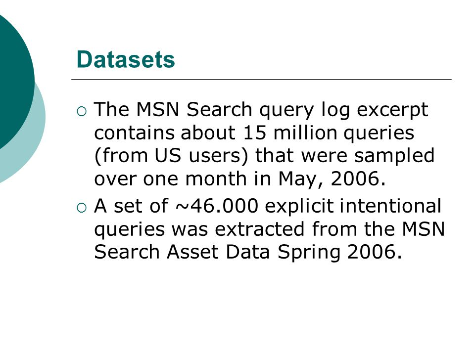 Datasets  The MSN Search query log excerpt contains about 15 million queries (from US users) that were sampled over one month in May, 2006.