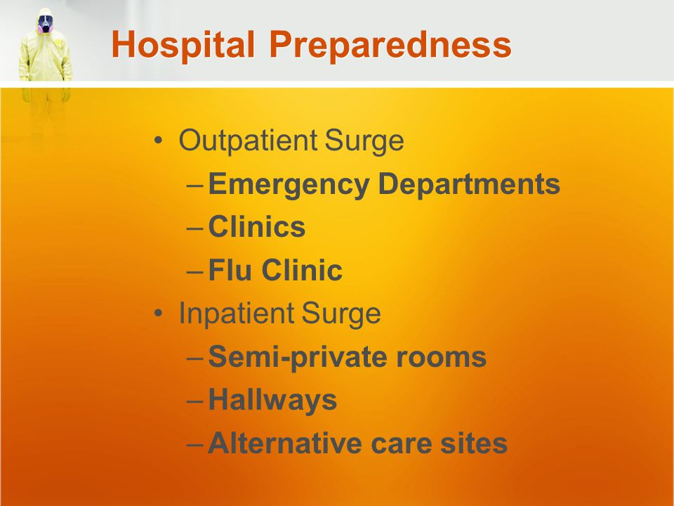 Hospital Preparedness Outpatient Surge –Emergency Departments –Clinics –Flu Clinic Inpatient Surge –Semi-private rooms –Hallways –Alternative care sites