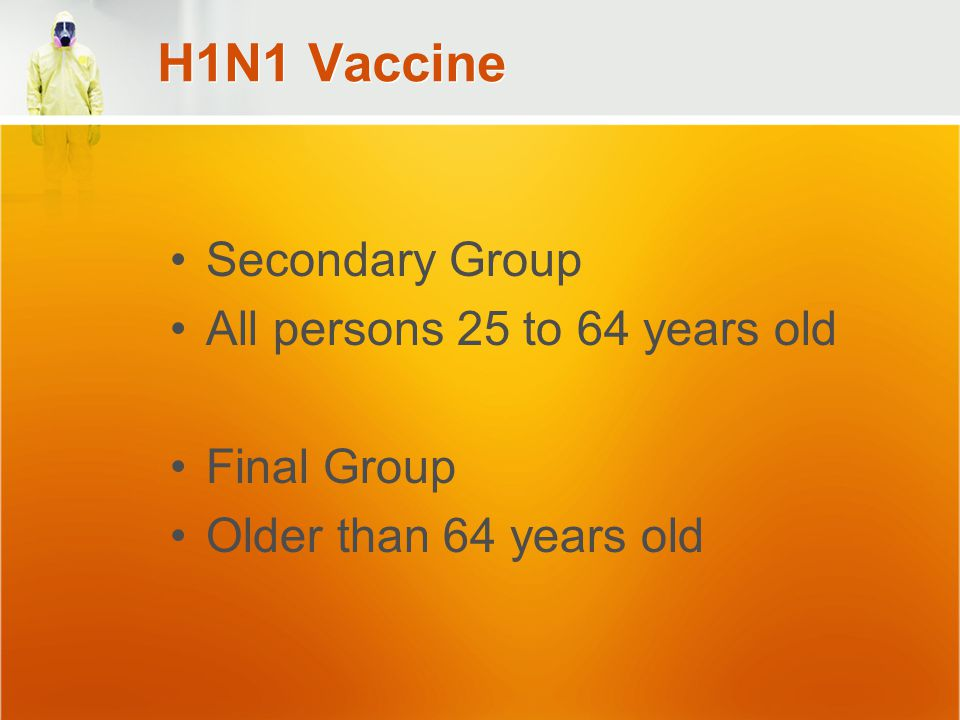 H1N1 Vaccine Secondary Group All persons 25 to 64 years old Final Group Older than 64 years old