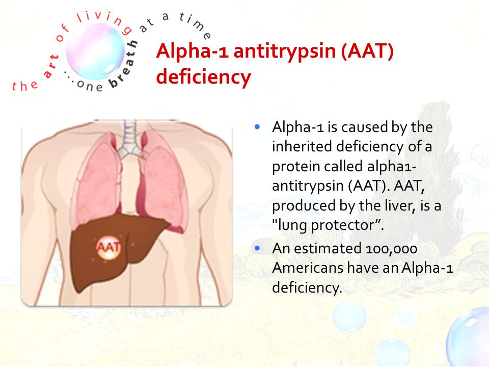 Alpha-1 antitrypsin (AAT) deficiency Alpha-1 is caused by the inherited deficiency of a protein called alpha1- antitrypsin (AAT).